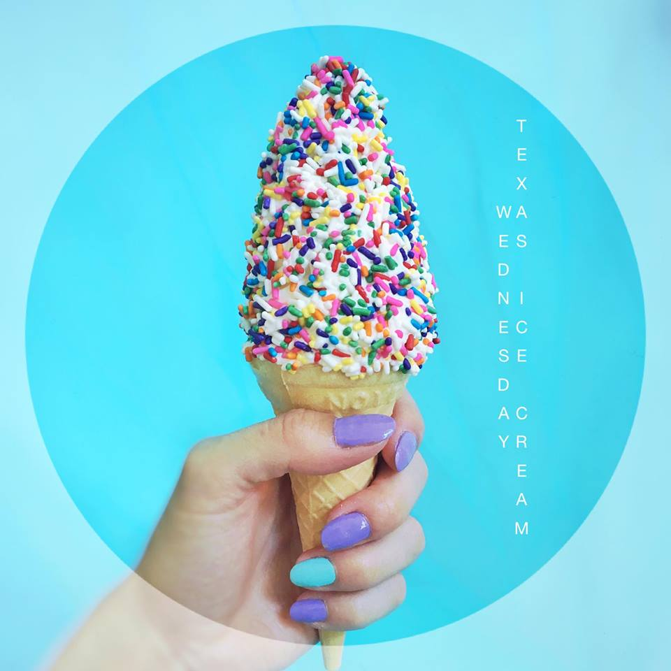 rainbow sprinkle cone, artistic ice cream
